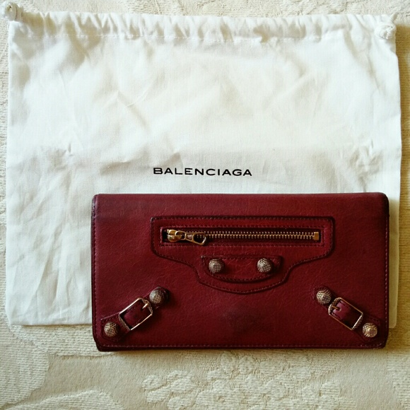Balenciaga Handbags - Auth Balenciaga leather long wallet red